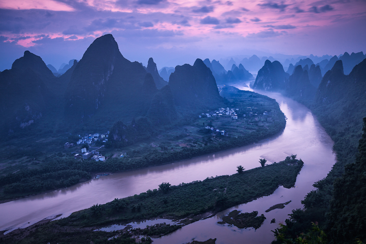 Pink and blue colors overlooking the Li River from Xiang Gong Shan