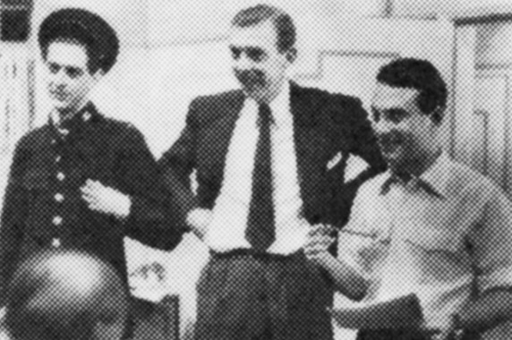 1954 Producing Dennis Norden (left) and Frank Muir (centre) in their first situation comedy series for television at the BBC called 'And so to Bentley', starring Dick Bentley and Peter Sellars.
