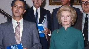 Sir Keith Joseph (left) with Margaret Thatcher in October 1976 at the launch of 'The Right Approach', the first major Conservative policy statement of the Thatcher era, largely written by Joseph.