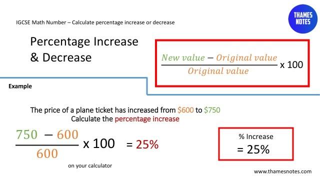 IGCSE Mathematics  How to calculate percentage increase - Thames