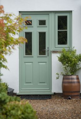 The timber collection entrance door with side window.