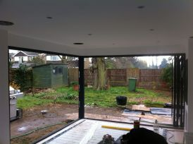Internal view, fixed corner post with doors open