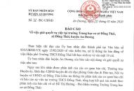 Huyện An Dương: Thông tin giải quyết vụ việc tại Trường THCS Đồng Thái