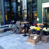 Fresh flowers are sold at the entrance