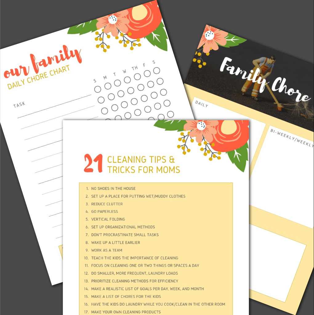 Cleaning Tips and Tricks for Moms - list and printable PREVIEW
