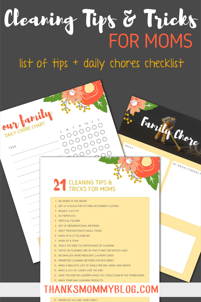 Cleaning Tips and Tricks for Moms - list and printable