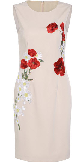 Apricot Round Neck Sleeveless Embroidered Dress