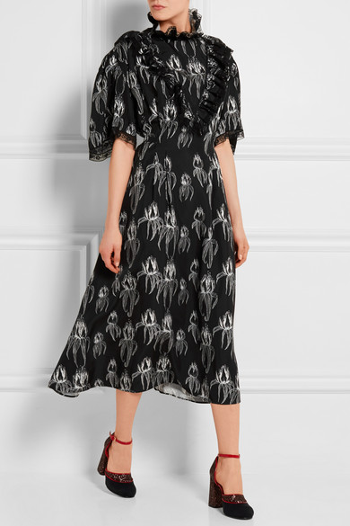 MIU MIU Ruffled printed satin dress bloack and white