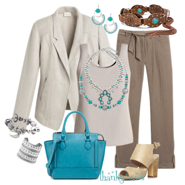 Spring by Chico's - neutral Outfit with turquoise