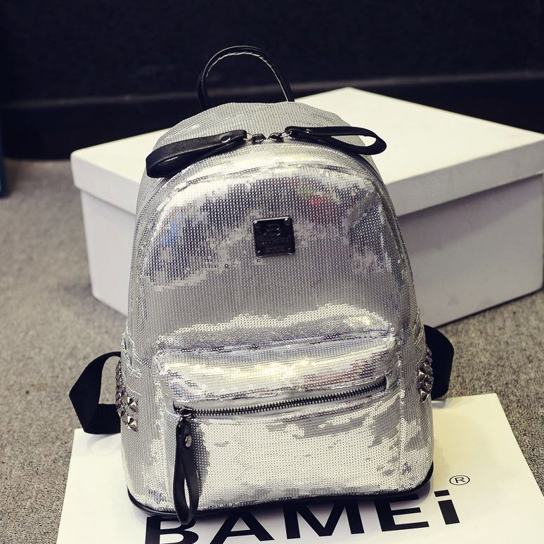 Sequined Faux Leather Backpack