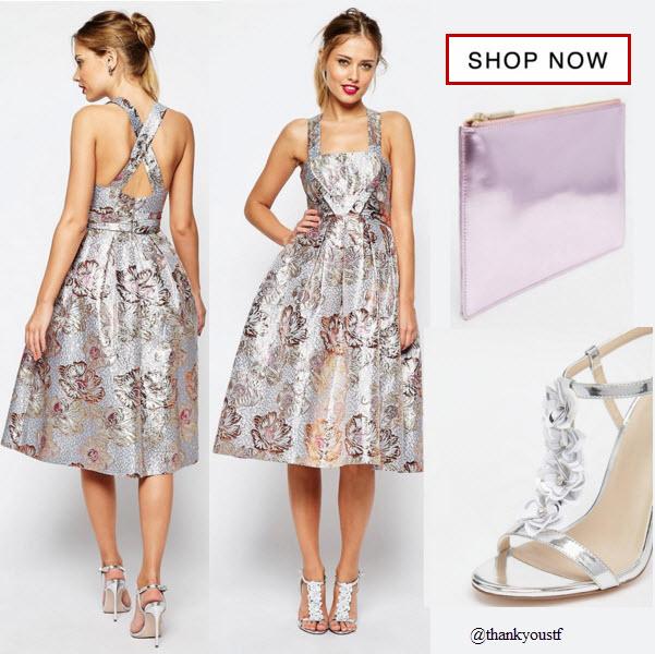 ASOS SALON Metallic Jacquard Midi Prom Dress