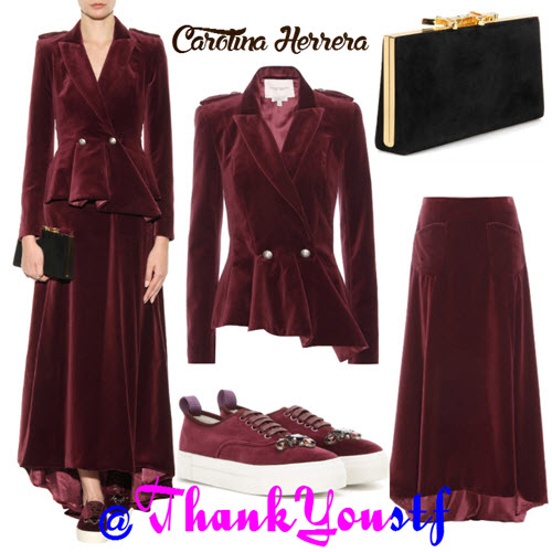 Carolina Herrera velvet outfit