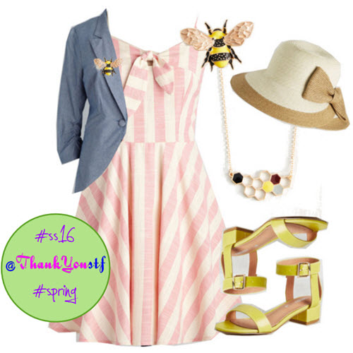 Sunny How That Works Dress in Pink Stripes in outfit