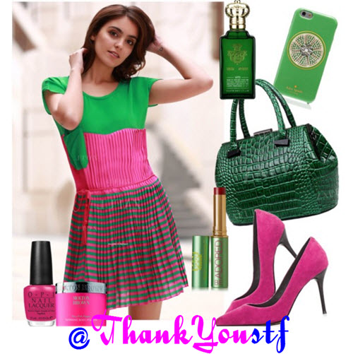 dresses in pink and green
