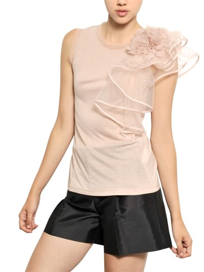 VALENTINO  TULLE ROSE ON VISCOSE JERSEY TOP