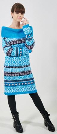 rochie tricotata cu guler pe gat din mohair in nuante de albastru