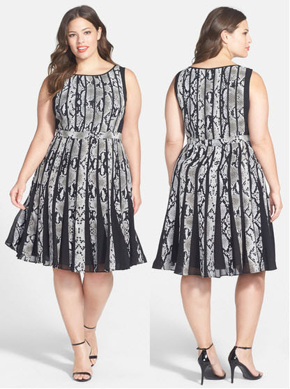 Adrianna Papell Fractured Snakeskin Print Fit & Flare Dress Plus Size