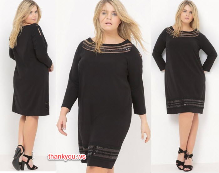 Rochii pentru femei grase, modele care subtiaza pe negru si roz prafuit