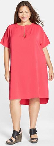 rochie masura XXL de culoare corai pal cu maneca scurta