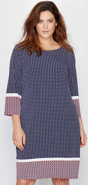 rochii masuri mari cu imprimeu pepit cu rosu si bleumarin Taillissime
