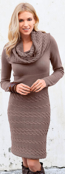 modele rochii tricotate pana la genunchi de culoare bej