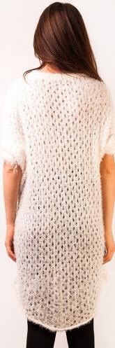 rochie tricotata alba pufoasa lana