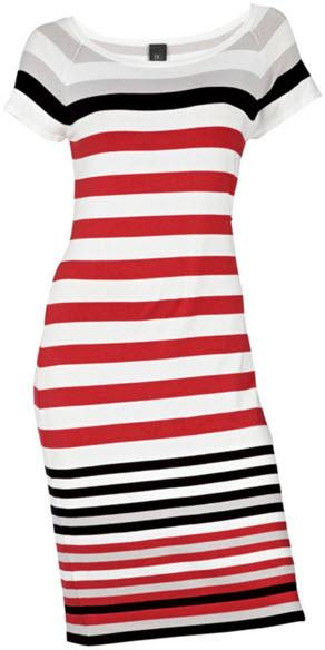 rochii tricolate cu maneca scurta in dungi alb cu rosu si gri stil marinar