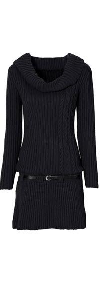 rochii tricotate negre scurte cu guler sal si curelusa