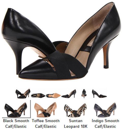 Pantofi eleganti cu toc Michael Kors Collection Stephanie negri indigo animal print crem