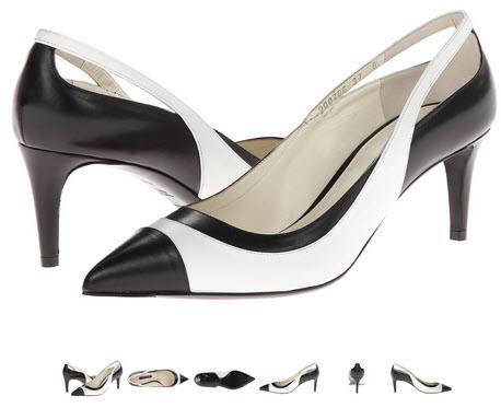 pantofi cu toc subtire alb cu negru Ralph Lauren Collection Disira
