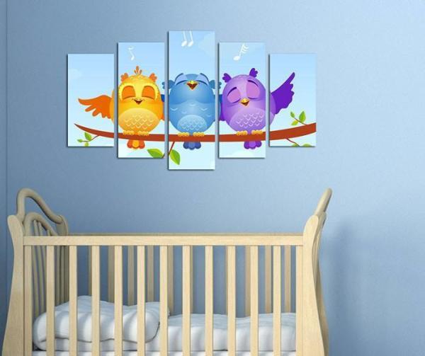 Set 5 tablouri Owls din lemn pictat pe fond bleu