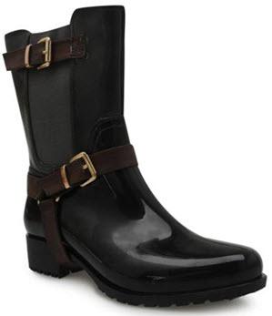 Cizme de ploaie lungime medie cu catarame si insertie de elastic-culoare neagra cu catarame maro