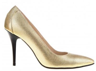 Pantofi aurii din piele cu toc stiletto negru