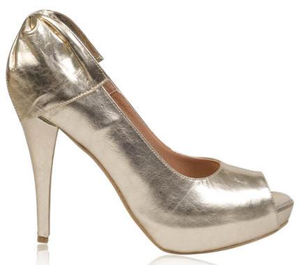 Pantofi aurii din piele naturala cu platforma si toc inalt si funda la spate