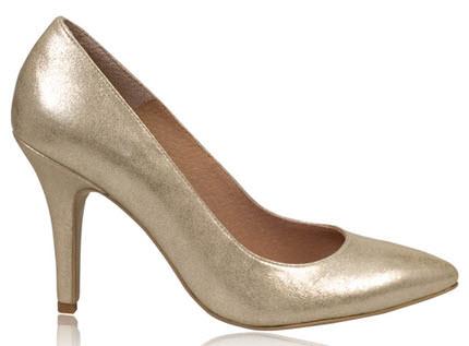 Pantofi aurii din piele naturala cu toc inalt model clasic