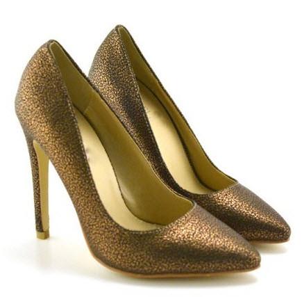 Pantofi stiletto eleganti Febo Aurii 2 nuanta inchisa