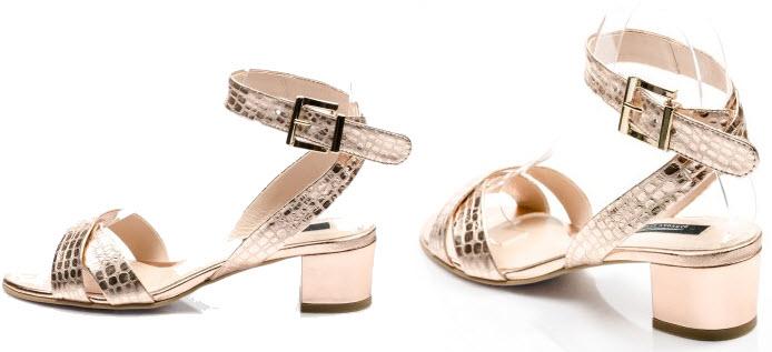 Sandale cu talpa joasa de dama din piele imprimeu auriu