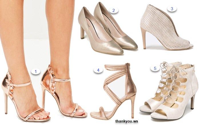 pantofi aurii cu toc piele