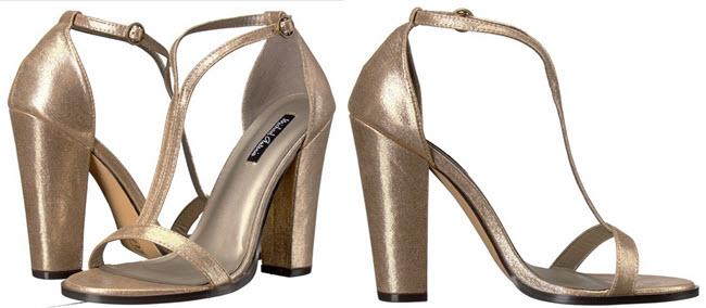 sandale aurii cu toc gros inalt din material sintetic Michael Antonio Jons - Metallic Femei
