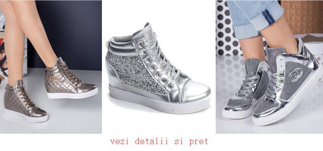 modele sneakers dama argintii cu talpa groasa