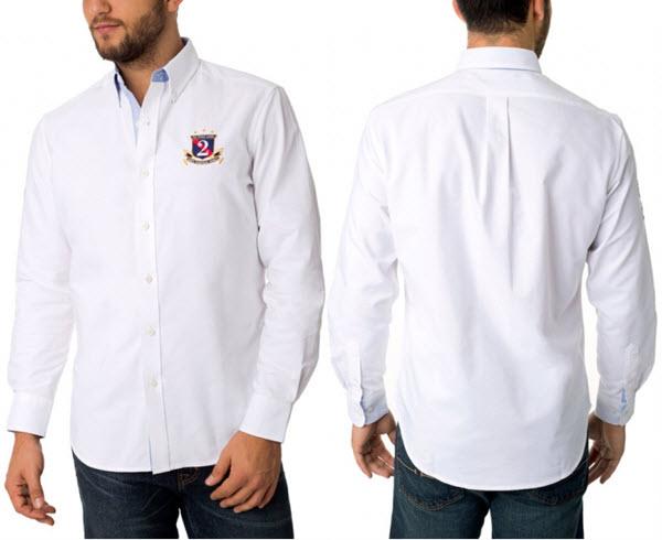 Camasa alba barbati U.S. Polo Assn Long Sleeve Classic Oxford Shirt With USPA Patch a