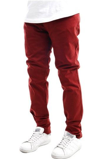 jeans barbati skinny maro caramiziu model Research & Development Skinny Fit 5 Pocket Jean in Burgundy