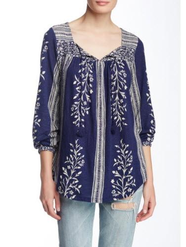 Bluza indigo cu snur Lucky Brand cu mix de printuri etnic floral