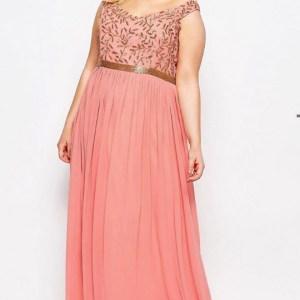 rochii lungi roz somon cu detalii aurii pentru masuri mari