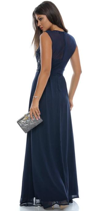 rochie bleumarin lunga cu paiete