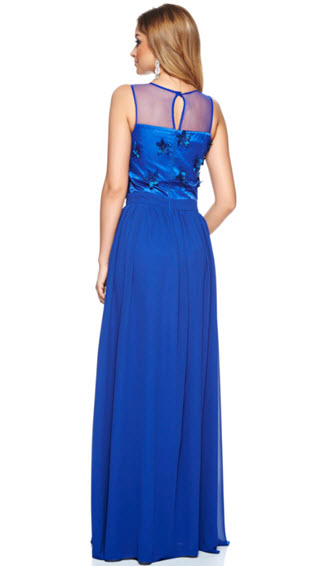 rochii de seara din voal albastru lunga pana in pamant