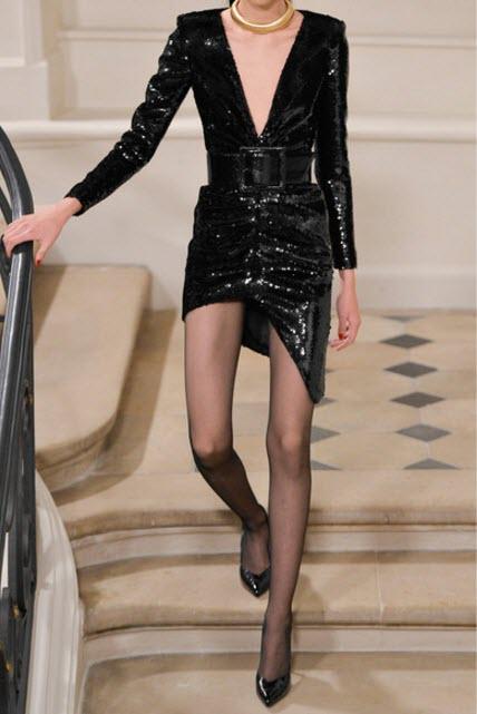 Rochie neagra cu paiete SAINT LAURENT Sequined silk-satin mini dress
