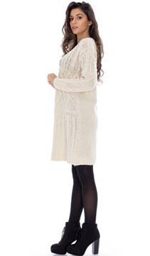 rochii tricotate albe cu maneca lunga