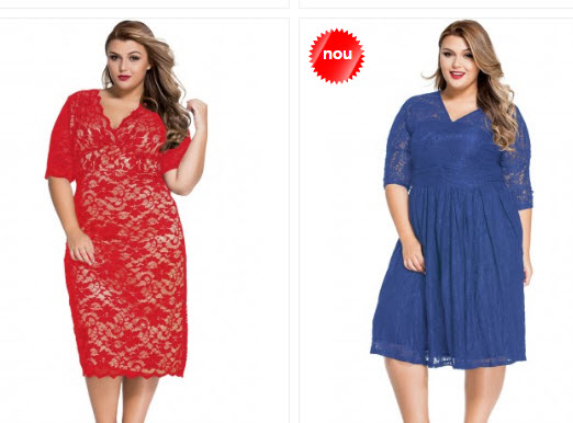 rochii de seara rosii si albastre din dantela pentru femei grase