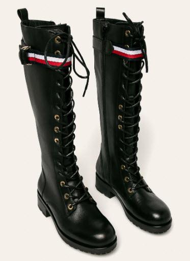cizme negre din piele cu siret model inalt Tommy Hilfiger